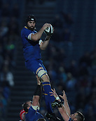 8th September 2017, RDS Arena, Dublin, Ireland; Guinness Pro14 Rugby, Leinster versus Cardiff Blues; Scott Fardy (Leinster) comes down with the lineout ball