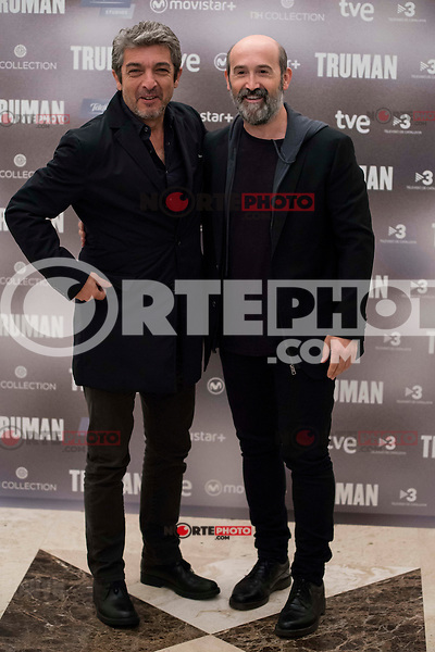 "Argentinian actor Ricardo Darin and spanish actor Javier Camara during the presentation of the film ""Truman"" at NH Tepa´s Palace in Madrid October 26, 2015. <br /> (ALTERPHOTOS/BorjaB.Hojas) /NortePhoto"