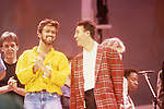Paul McCartney, George Michael & Andrew Ridgeley of Wham at Live Aid at Wembley Stadium England. Live Aid 1985 Wembley Stadium, London , England