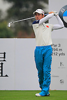 Ouyang Zheng (CHN) tees off the 4th tee during Thursday's Round 1 of the 2014 BMW Masters held at Lake Malaren, Shanghai, China 30th October 2014.<br /> Picture: Eoin Clarke www.golffile.ie