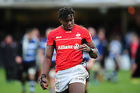 Maro Itoje of Saracens looks at his hand after his first game back after injury. Aviva Premiership match, between Bath Rugby and Saracens on December 3, 2016 at the Recreation Ground in Bath, England. Photo by: Patrick Khachfe / Onside Images