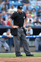 Home plate umpire Justin Robinson during a game between the Rome Braves and the Asheville Tourists on May 16, 2015 in Asheville, North Carolina. The Braves defeated the Tourists 6-3. (Tony Farlow/Four Seam Images)
