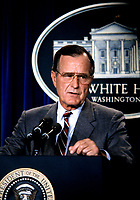***FILE PHOTO*** George H.W. Bush Has Passed Away<br /> United States President George H.W. Bush holds a press conference on the crisis with Iraq in the Brady Press Briefing Room at the White House in Washington, DC on August 17, 1990. CAP/MPI/RS<br /> &copy;RS/MPI/Capital Pictures