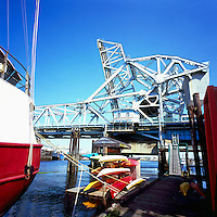 Victoria, BC, Vancouver Island, British Columbia, Canada - Historic Johnson Street Bridge over the Gorge Waterway (Rail Bridge is now closed, while Road Bridge remains open)