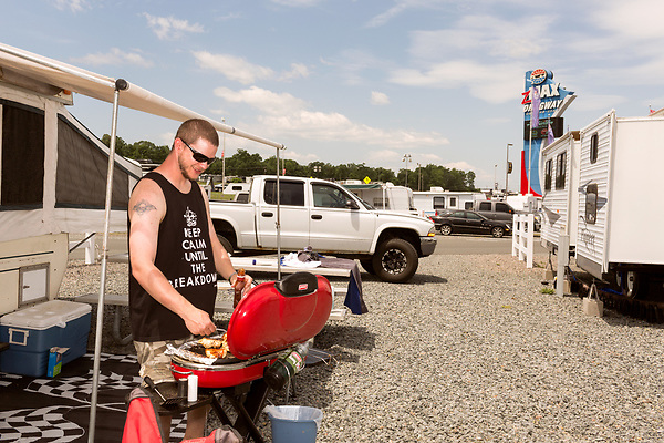 May 8, 2016. Concord, North Carolina. <br />  Thousands camped in RV's, trailers and tents near the site of the festival.<br />  The 2016 Carolina Rebellion was held over May 6-8 next to the Charlotte Motor Speedway and featured over 50 bands including headliners Lynyrd Skynyrd, The Scorpions, Five Finger Death Punch, Disturbed, and Rob Zombie.