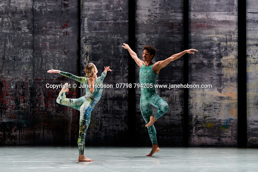 Rambert presents RAMBERT EVENT, by Merce Cunningham, at Sadler's Wells. Choreography by Merce Cunningham, staging by Jeannie Steele, Music by Philip Selway, Quinta and Adem Ilhan, designs inspired by Gerhard Richter's 'Cage' series, performed by Rambert. The dancers are: Hannah Rudd, Liam Francis