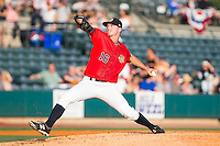 Charleston RiverDogs starting pitcher Ian Clarkin (16) in action against the Greenville Drive at Joseph P. Riley, Jr. Park on May 26, 2014 in Charleston, South Carolina.  The Drive defeated the RiverDogs 11-3.  (Brian Westerholt/Four Seam Images)