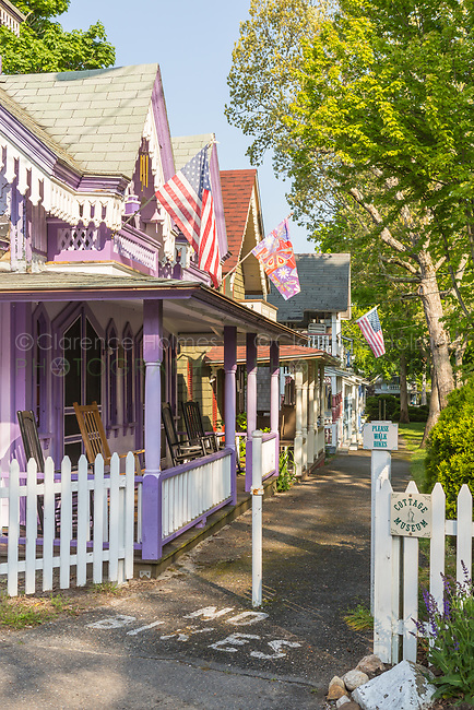 Colorful gingerbread cottages in the Martha's Vineyard Camp Meeting Association in Oak Bluffs, Massachusetts.