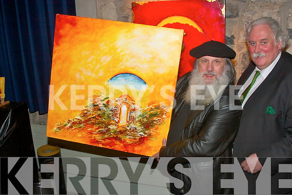 Artist Aurthure French and John O'Carroll, pictured at an exhibition of Arthure French's  work in St. John's theatre Listowel on Saturday night..   Copyright Kerry's Eye 2008