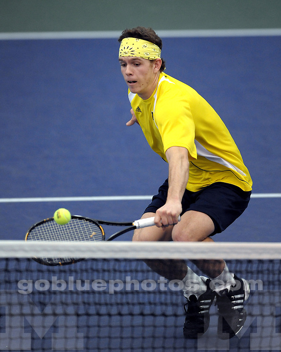 University of Michigan Men's Tennis vs Notre Dame on February 13, 2010 in Ann Arbor, MI.
