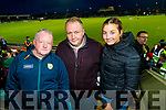 Kerry fansTom O'Connor (Firies) with John P. Daly and Lorna Daly (Ballymac), pictured at the Kerry v Dublin, Allianz National League at Austin Stack Park, Tralee on Saturday night last.
