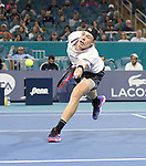 March 29, 2019: Denis Shapovalov (CAN) is defeated by Roger Federer (SUI) 2-6, 4-6, at the Miami Open being played at Hard Rock Stadium in Miami, Florida. ©Karla Kinne/Tennisclix 2010/CSM