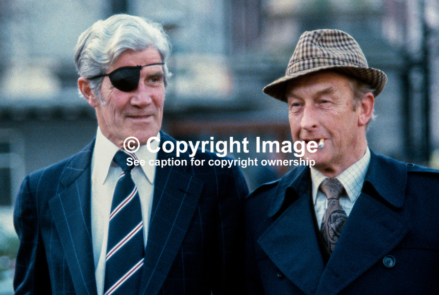 Gerry Jones, activist, Fianna Fail, Dublin (left), and Derry McCarthy, activist, Fianna Fail, Cork, Rep of Ireland, 1980020033GJDMC..Copyright Image from Victor Patterson, 54 Dorchester Park, Belfast, UK, BT9 6RJ..Tel: +44 28 9066 1296.Mob: +44 7802 353836.Voicemail +44 20 8816 7153.Skype: victorpattersonbelfast.Email: victorpatterson@mac.com.Email: victorpatterson@ireland.com (back-up)..IMPORTANT: If you wish to use this image or any other of my images please go to www.victorpatterson.com and click on the Terms & Conditions. Then contact me by email or phone with the reference number(s) of the image(s) concerned.