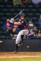 Jonathan Morales (8) of the Rome Braves at bat against the Hickory Crawdads at L.P. Frans Stadium on May 12, 2016 in Hickory, North Carolina.  The Braves defeated the Crawdads 3-0.  (Brian Westerholt/Four Seam Images)