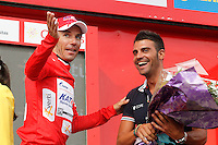 Joaquin Rodriguez with the red jersey of leader after the stage of La Vuelta 2012 between Cambados and Pontevedra in presence of Oscar Pereiro.Individual Time Trials.August 29,2012. (ALTERPHOTOS/Paola Otero) /Nortephoto.com<br />