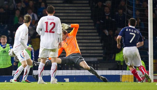 Scott Brown scores past Czech keeper Jaroslav Drobny