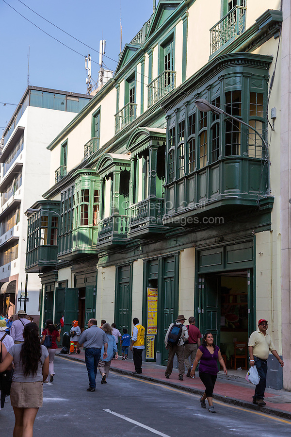 Lima, Peru.  Enclosed Wooden Window Balconies, a Moorish Influence on Peruvian Architecture.