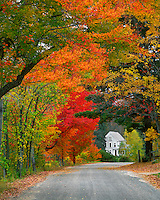 Road lined in fall color in the town of Andover in Merrimack County, New Hampshire