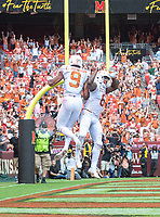 Landover, MD - September 1, 2018: Texas Longhorns wide receiver Collin Johnson (9) celebrates a touchdown with Texas Longhorns wide receiver Devin Duvernay (6) during game between Maryland and No. 23 ranked Texas at FedEx Field in Landover, MD. The Terrapins upset the Longhorns in back to back season openers with a 34-29 win. (Photo by Phillip Peters/Media Images International)