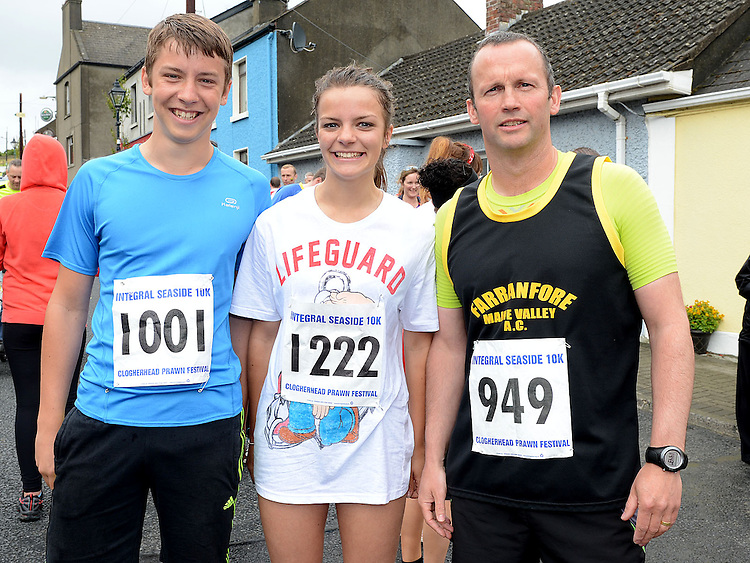 Liam Fussey, Niamh Fussey and Cathal Kirwan who ran the Integral Clogherhead 10K run. Photo:Colin Bell/pressphotos.ie