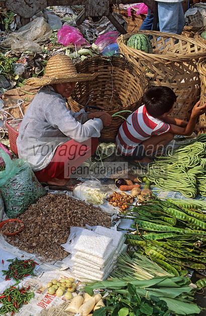 Asie/Malaisie/Kuala Lumpur: Marché de gros - Etal de légumes et fougères de la jungle