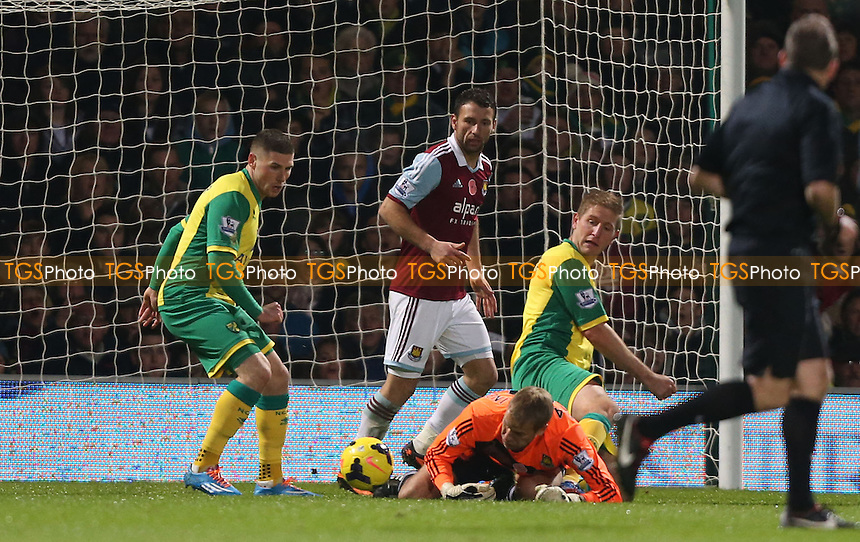 Jussi Jaaskelainen of West Ham drops the ball prior to bringing down Gary Hooper to earn Norwich a penalty - Norwich City vs West Ham United, Barclays Premier League at Carrow Road, Norwich - 09/11/13 - MANDATORY CREDIT: Rob Newell/TGSPHOTO - Self billing applies where appropriate - 0845 094 6026 - contact@tgsphoto.co.uk - NO UNPAID USE
