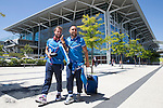 FC Luzern v St Johnstone...16.07.14  Europa League 2nd Round Qualifier<br /> Stevie May and Lee Croft pictured at Basel airport in Switzerland ahead of tomorrow's game against FC Luzern<br /> Picture by Graeme Hart.<br /> Copyright Perthshire Picture Agency<br /> Tel: 01738 623350  Mobile: 07990 594431