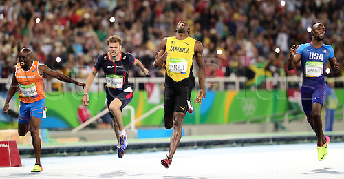 18.08.2016. Rio de Janeiro, Brazil. Churandy Martina of the Netherlands, Christophe Lemaitre of France, Usain Bolt of Jamaica and Lashawn Merritt of the USA cross the line in the Men's 200m Final of the Olympic Games 2016 Athletic, Track and Field events at Olympic Stadium during the Rio 2016 Olympic Games in Rio de Janeiro, Brazil, 18 August 2016.