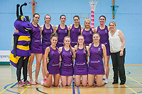 The University of Manchester team following the England Netball u18s Performance League Match between Manchester Thunder and the University of Manchester at the Wright Robinson Sports Centre, Manchester on Monday 15th May 2017