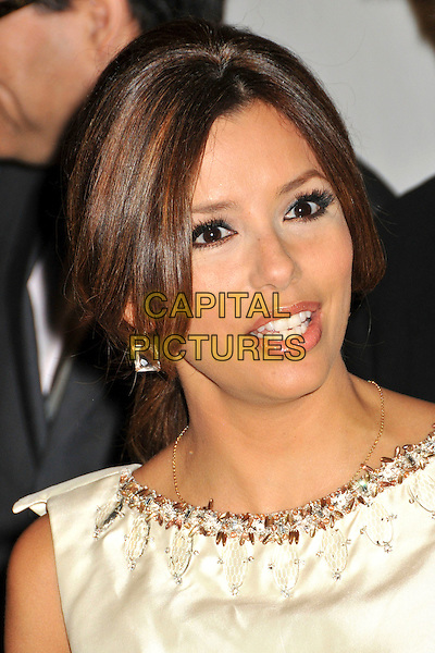 EVA LONGORIA PARKER.2009 ALMA Awards Press Conference held at Beso, Hollywood, CA, .25th August 2009..portrait headshot gold cream beaded embellished beaded tanned hair up necklace neckline square earrings .CAP/ADM/BP.©Byron Purvis/AdMedia/Capital Pictures.