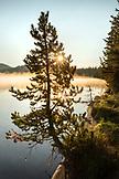 USA, Oregon, Paulina Lake, Brown Cannon, the early morning fog off the shoreline of Paulina Lake