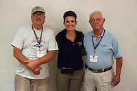 Indiana State Representative Roy Reichenbach, left, GM's Cherry Weiland and Indiana State Representative Bob Breedlove pose for a photo at welcome barbecue at the 4th State Representative Chevy Show on Thursday, June 30, 2016, in Fort Wayne, Indiana. (Photo by James Brosher)