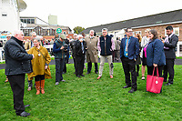 Connections of Moabit wait in the winners enclosure prior to the presentation for winning The Byerley Stud 'Season Finale' Handicap  during Bathwick Tyres Reduced Admission Race Day at Salisbury Racecourse on 9th October 2017