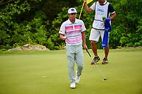 Hideto Tanihara (JAP) after sinking his putt on 2 during round 6 of the World Golf Championships, Dell Technologies Match Play, Austin Country Club, Austin, Texas, USA. 3/26/2017.<br /> Picture: Golffile | Ken Murray<br /> <br /> <br /> All photo usage must carry mandatory copyright credit (&copy; Golffile | Ken Murray)