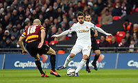 Pictured: (L-R) Gary Jones and Pablo Hernandez. Sunday 24 February 2013<br /> Re: Capital One Cup football final, Swansea v Bradford at the Wembley Stadium in London.