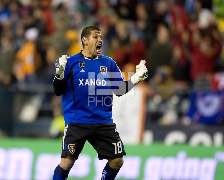 Real Salt Lake's Nick Rimando celebrates a goal by Robbie Findley in the first half. .Real Salt Lake defeated the Los Angles Galaxy on penalty kicks to win the 2009 MLS Cup at Qwest Field, Sunday, Nov. 22, 2009.