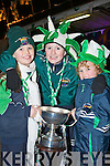 Milltown/Castlemaine fans Coimhe Burke, Linus Burke and Darragh Horgan at the home coming in Milltown on Monday night