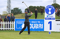 Paul Waring (ENG) on the 1st tee during Round 1 of the Open de Espana 2018 at Centro Nacional de Golf on Thursday 12th April 2018.<br /> Picture:  Thos Caffrey / www.golffile.ie<br /> <br /> All photo usage must carry mandatory copyright credit (&copy; Golffile | Thos Caffrey)