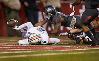 Hawgs Illustrated/BEN GOFF <br /> Henre' Toliver, Arkansas defensive back and Carlton Davis (6), Auburn defensive back, try to recover the ball after an Arkansas punt bounced off an Auburn player's helmet in the first quarter Saturday, Oct. 21, 2017, at Reynolds Razorbacks Stadium in Fayetteville.