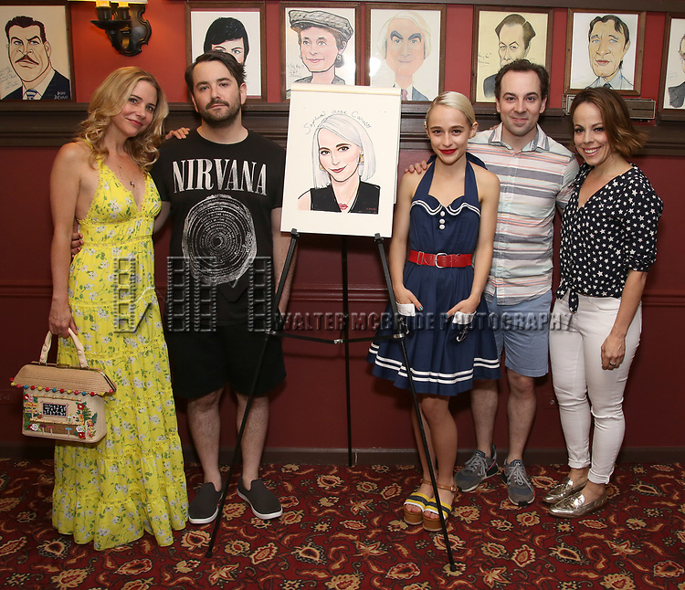 Kerry Butler, Alex Brightman, Sophia Anne Caruso, Rob McClure and Leslie Kritzer during the Sophia Anne Caruso Sardi's Portrait Unveiling at Sardi's on July 10, 2019 in New York City.