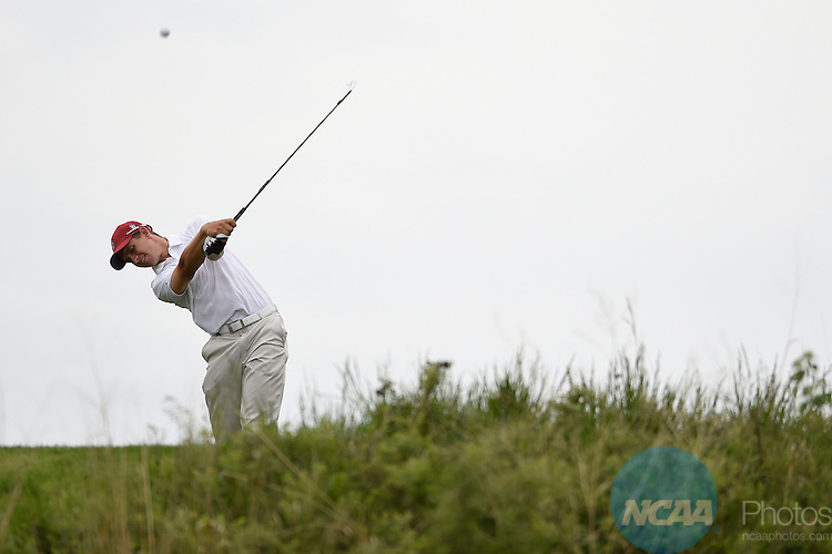 26 MAY 2014: Patrick Rogers of the University of Stanford tees off at Prairie Dunes in Hutchinson, KS during the 2014 NCAA D1 Men's Golf Championship. <br />