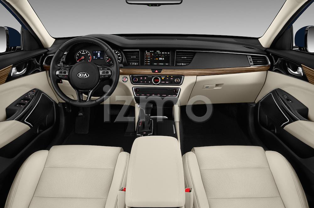 Stock photo of straight dashboard view of 2018 KIA Cadenza Premium 4 Door Sedan Dashboard