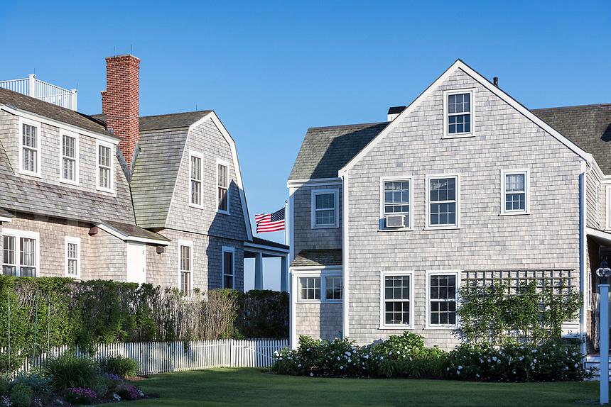 Charming homes in Nantucket town, Massachusetts, USA.