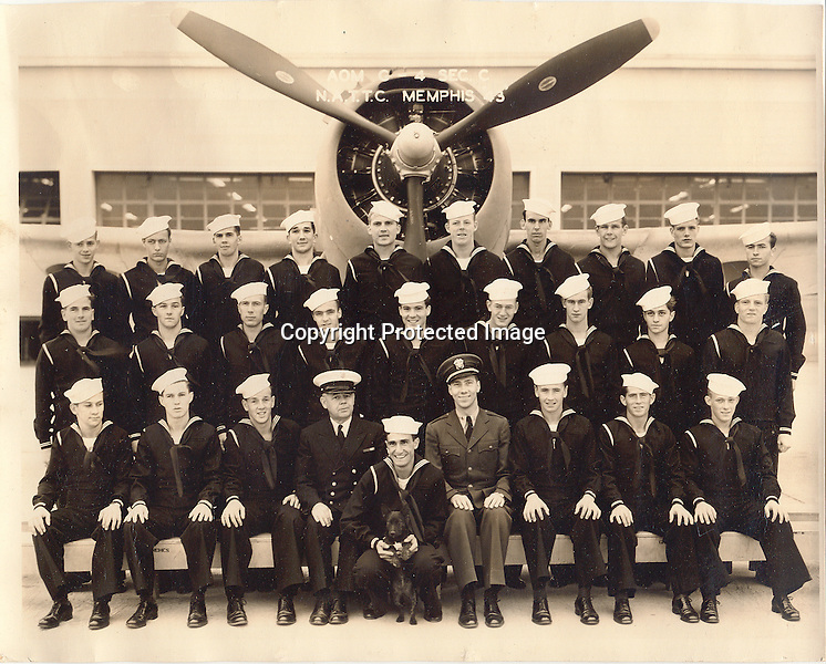 Aviation Ordnanceman Training School  G-4 Section C   N.A.T.T.C. in Memphis, TN - June - Oct. 1943<br /> ---------<br /> From back left to right:  Gand Haley, Marshall Kuhn, John McDonald, Kenneth Messner, Adam 'Danny' Moyer, George 'O'Toole' Hedetnieni, 'Ed' Muller, John 'Jack' Lythgoe, Warren Milliken<br /> middle row:   James Mosley, Elmer Jones, Jim Jones, William Hall, George 'Al' Harrington, Harry Folsom, John Patterson, 'Eddie' Donley, Nicholas Gaurriello, Homer 'Red' Ellis<br /> front row:  Donald Heckman, James O'Neill, Harry Krier, Chief, Robert Misshula, (Dog 'Frankie'), Bob Salters, William Buckley, William Morange, Wade Litzinger.