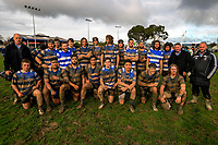 The Wanganui team pose for a group photo after the Manawatu colts club rugby Gordon Brown Memorial Cup Final between Wanganui Metro and Massey White at Arena Manawatu in Palmerston North, New Zealand on Saturday, 22 July 2017. Photo: Dave Lintott / lintottphoto.co.nz