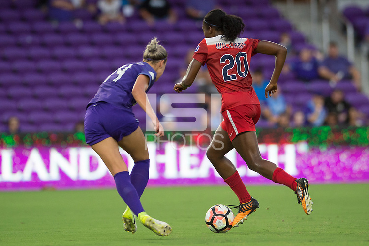 Orlando, FL - Tuesday August 08, 2017: Alanna Kennedy, Cheyna Williams during a regular season National Women's Soccer League (NWSL) match between the Orlando Pride and the Chicago Red Stars at Orlando City Stadium.