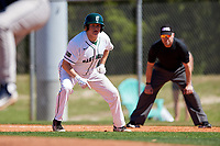 Dartmouth Big Green first baseman Michael Calamari (3) leads off first base during a game against the Villanova Wildcats on March 3, 2018 at North Charlotte Regional Park in Port Charlotte, Florida.  Dartmouth defeated Villanova 12-7.  (Mike Janes/Four Seam Images)