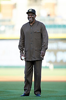 Baseball Hall of Famer Andre Dawson prepares to throw out a ceremonial first pitch prior to the International League game between the Toledo Mud Hens and the Charlotte Knights at BB&T BallPark on April 24, 2019 in Charlotte, North Carolina. The Knights defeated the Mud Hens 9-6. (Brian Westerholt/Four Seam Images)