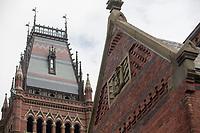 The ornate tower of Sanders Theater is seen at Harvard University in Cambridge, Massachusetts, USA, on Mon., Oct 15, 2018.
