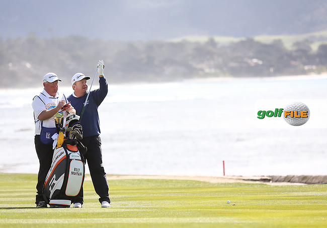 08 FEB 13  The Mayfairs in the 18th fairway during Friday's Second Round of The AT&T Pebble Beach National Pro-Am at The Pebble Beach Golf Links in Carmel, California. (photo:  kenneth e.dennis / kendennisphoto.com) Byline: Ken Dennis/ www.golffile.ie